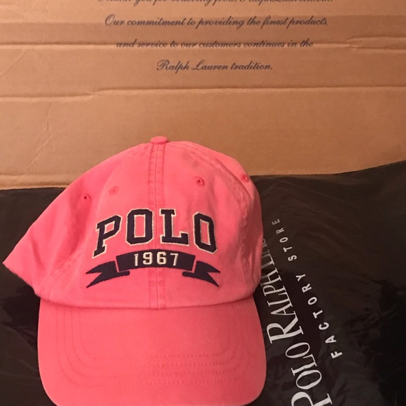Polo Pinkish Red Varsity Block Spell Out Hat NWT